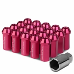 50mm Aluminum M12x1.5 6-Point 25mm OD Closed End Pink 20 Lug Nuts Set+Adapter
