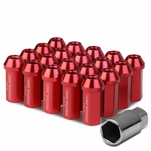 50mm Aluminum M12x1.5 6-Point 25mm OD Closed End Red 20 Lug Nuts Set+Adapter