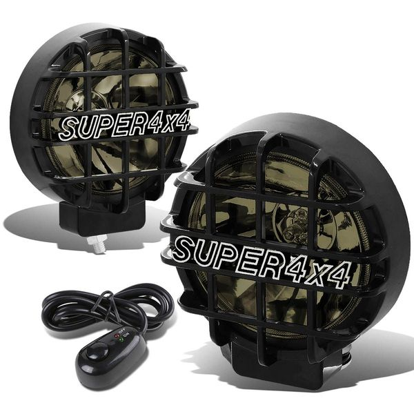 """6"""" Round Fog Lights+Offroad Super 4X4 Guard+Switch For Grille/Brush/Bull bar (Smoked Lens Black Housing)"""