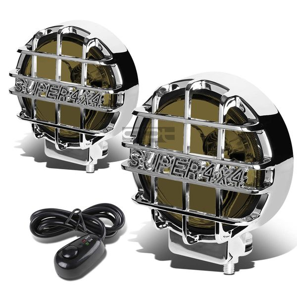 "6"" Round Fog Lights+Offroad Super 4X4 Guard+Switch For Grille/Brush/Bull bar (Smoked Lens Chrome Housing)"