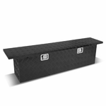 "60""(L) x 12""(W) x 15.5""(H) Powdercoated Aluminum Pickup Truck Bed Trailer Key Lock Storage Tool Box (Black)"