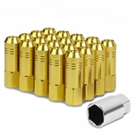 60mm Aluminum M12x1.25 6-Point 20mm OD Open End Gold 20 Lug Nuts Set+Adapter