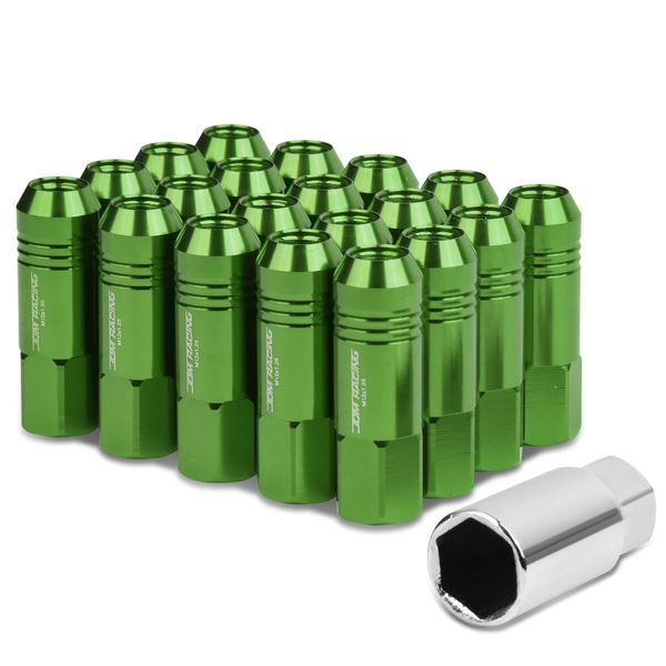 60mm Aluminum M12x1.25 6-Point 20mm OD Open End Green 20 Lug Nuts Set+Adapter