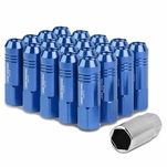60mm Aluminum M12x1.5 6-Point 20MM OD Open End Blue 20 Lug Nuts Set+Adapter