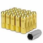 60mm Aluminum M12x1.5 6-Point 20MM OD Open End Gold 20 Lug Nuts Set+Adapter