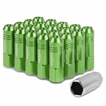 60mm Aluminum M12x1.5 6-Point 20MM OD Open End Green 20 Lug Nuts Set+Adapter