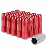 60mm Aluminum M12x1.5 6-Point 20MM OD Open End Red 20 Lug Nuts Set+Adapter