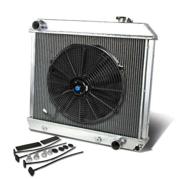 "63-66 Chevy Pickup Truck MT Aluminum Racing 3-Row Radiator+16"" Fan (Black)+Mounting Kit"