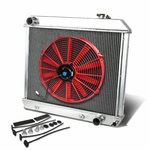 """63-66 Chevy Pickup Truck MT Aluminum Racing 3-Row Radiator+16"""" Fan (Red)+Mounting Kit"""