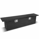 "63""(L) x 12""(W) x 16.5""(H) Powdercoated Aluminum Pickup Truck Bed Trailer Key Lock Storage Tool Box (Black)"