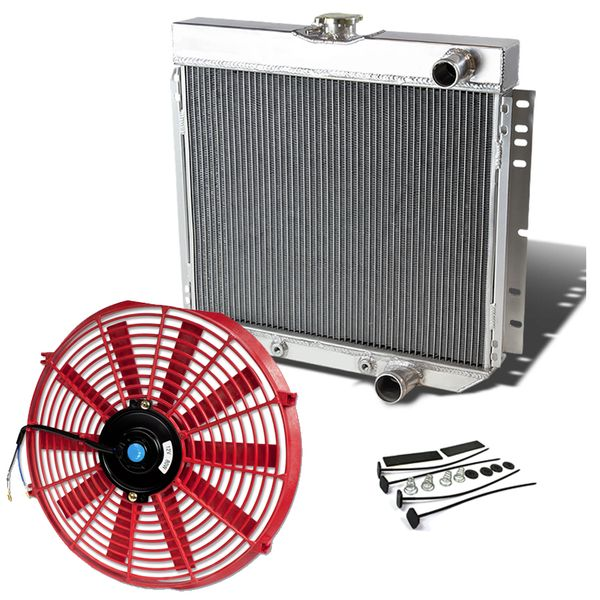 67-69 Ford Mustang / Torino / LTD L6 V8 3-Row Aluminum Cooling Radiator + Fan - Red