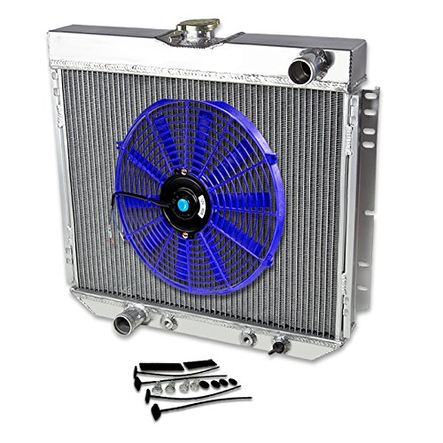 "69-70 Ford Mustang V8 Aluminum Racing 3-Row Radiator+14"" Fans (Blue)+Mounting Kit"