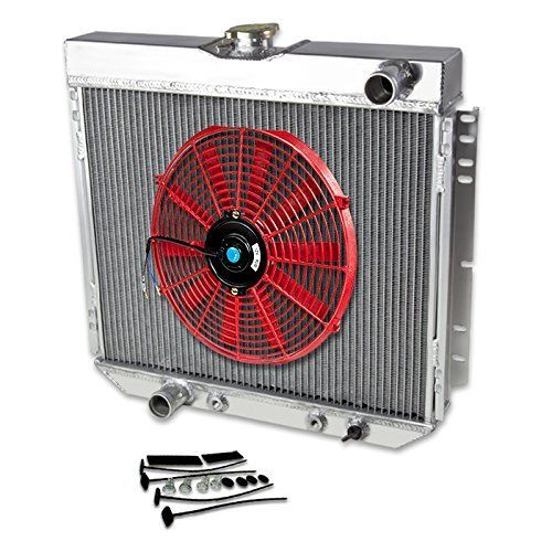 """69-70 Ford Mustang V8 Aluminum Racing 3-Row Radiator+14"""" Fans (Red)+Mounting Kit"""