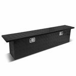 "69""(L) x 11""(W) x 16.25""(H) Powdercoated Aluminum Pickup Truck Bed Trailer Key Lock Storage Tool Box (Black)"