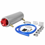 """7.25"""" x 2.5"""" Rounded Aluminum Oil Catch Reservoir Breather Tank + Cap (Red)"""
