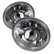 "7"" Round Diamond-Cut Projector Headlights [H4 Light Bulbs] - Chrome"