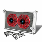 "73-76 Chevy Corvette V8 5.7L/7.4L MT Aluminum Racing 3-Row Radiator+12"" Fans (Red)+Mounting Kit"