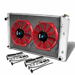 """73-88 Chevy C/K-Series V8 Aluminum Racing 2-Row Radiator+12"""" Fans (Red)+Mounting Kit"""
