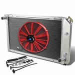 "77-82 Chevy Corvette V8 5.7L/5.0L MT Aluminum Racing 3-Row Radiator+16"" Fan (Red)+Mounting Kit"