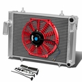 "79-80 Triumph Spitfire 1500 MT Aluminum Racing 3-Row Radiator+10"" Fan (Red)+Mounting Kit"