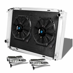 79-93 Ford Mustang [Manual Only] Aluminum 3-Row Cooling Radiator + Fan - Black