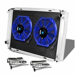 79-93 Ford Mustang [Manual Only] Aluminum 3-Row Cooling Radiator + Fan - Blue