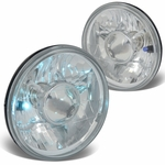 Pair 7X7 Inch H6024 Round Glass Lnes Projector Headlight Lamps - Chrome Housing