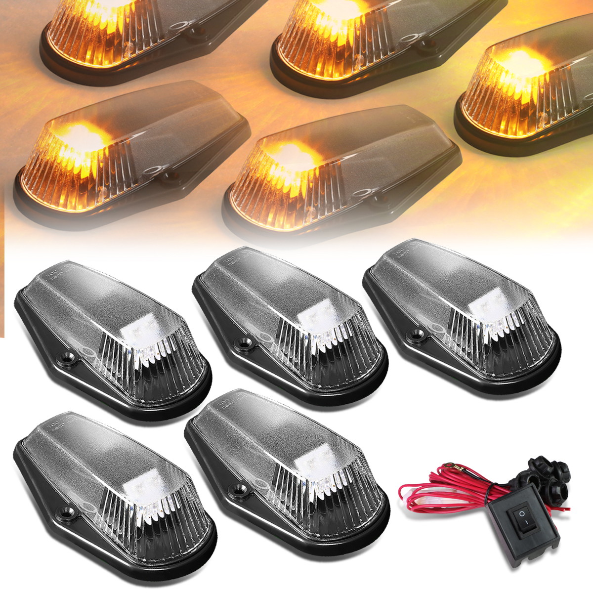 80-96 Ford F150-F450 5 X LED Cab Roof Top Lights + Wiring ... on