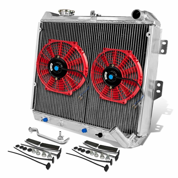 "84-85 Mazda RX-7 FB MT Aluminum Racing 2-Row Radiator+10"" Fans (Red)+Mounting Kit"