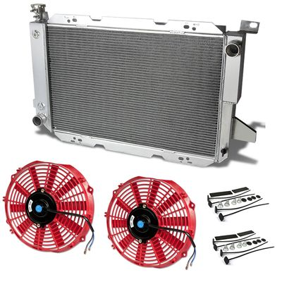 85-96 Ford F150 / F250 / Superduty V8 Gas [Manual Only] Aluminum Radiator + Fan - Red
