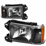 87-91 Ford F150 F250 Bronco OE-Style Headlights Combo - Black / Amber