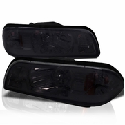 87-93 Ford Mustang 1-Piece Euro Style Headlights - Smoked
