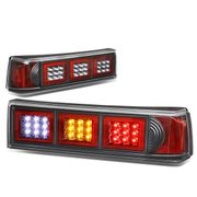 87-93 Ford Mustang Pair of LED Black Housing Altezza Square Style Tail Brake Lights(White Reverse/Yellow Signal/Red Brake)