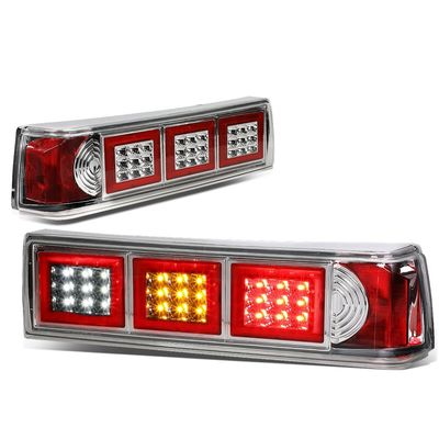 87-93 Ford Mustang Pair of LED Chrome Housing Altezza Square Style Tail Brake Lights(White Reverse/Yellow Signal/Red Brake)