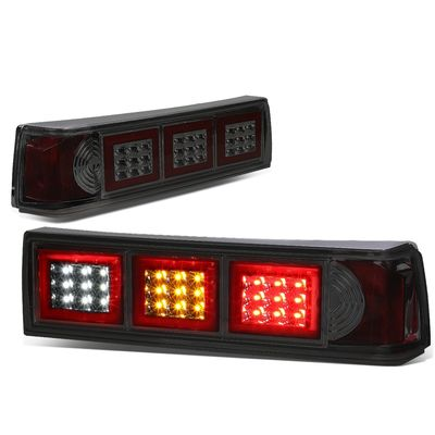 87-93 Ford Mustang Pair of LED Smoked Lens Altezza Square Style Tail Brake Lights(White Reverse/Yellow Signal/Red Brake)