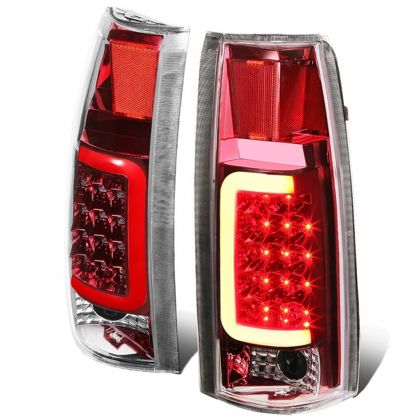 88-00 Chevy / GMC C/K-Series Pair of 3D LED Tail Brake Lights (Chrome Housing Red Lens)