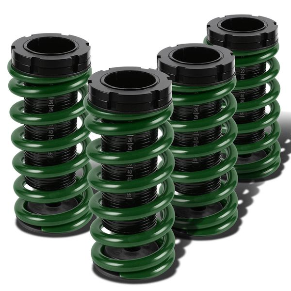 88-00 Honda Civic Scale Height Adjustable Lowering Coilover Springs Kit - Black / Green