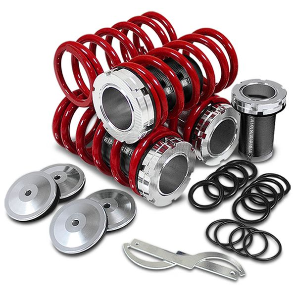 88-00 Honda Civic Scale Height Adjustable Lowering Coilover Springs Kit - Red / Black