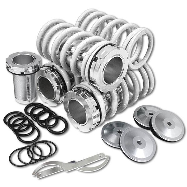 88-00 Honda Civic Scale Height Adjustable Lowering Coilover Springs Kit - White / Silver