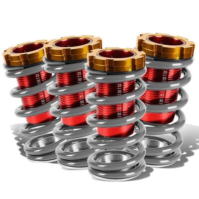"""88-00 Honda Civic Scaled 1-4"""" Adjustable Coilover Springs Lowering - Silver"""