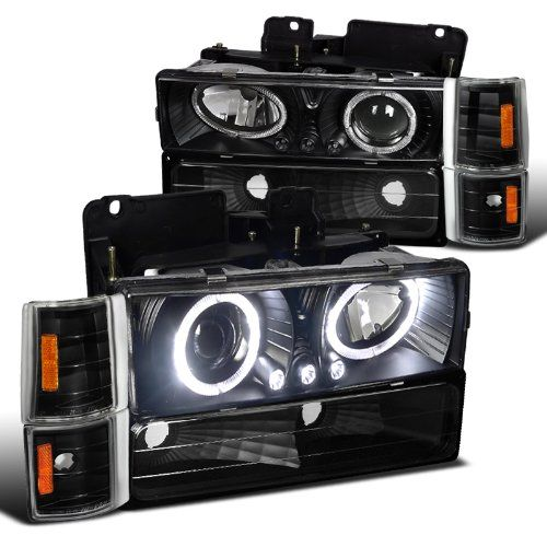 88-93 Chevy C10 / CK Full Size 8-Pieces Angel Eye Halo & LED Projector Headlights - Black