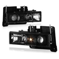 88-98 Chevy C/K C10 1500 2500 3500 Truck Projector Headlights - Black