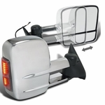 88-98 Chevy C/K 1500/2500/3500 [MANUAL] [LED Signal] Towing Side View Mirror Chrome - Pair