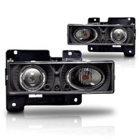 88-98 Chevy / GMC C10 Pickup Truck Dual Halo Projector Headlights - Black