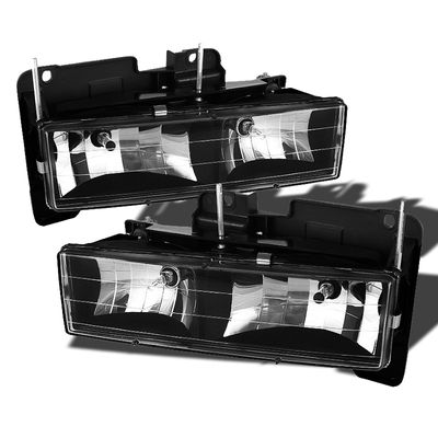 88-98 Chevy / GMC Full Size Pickup C10 CK Crystal Replacement Headlights - Black