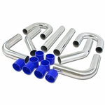 "8Pc 2"" Aluminum FMIC Turbo Intercooler Piping Kit + Silicone Hose + T-Clamp Silver"