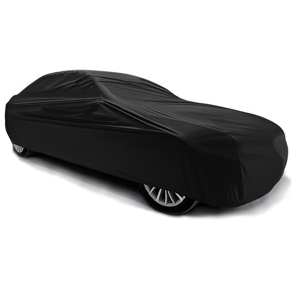 9-Layer All Weather Proof Breathable Lining Full Car Cover for Up to 14.75' Vehicles (Black)