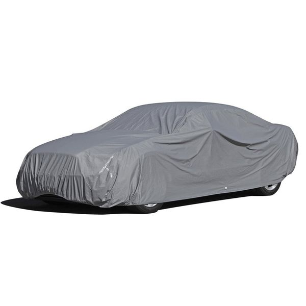 9-Layer All Weather Proof Breathable Lining Full Car Cover for Up to 15.5' Vehicles (Silver)