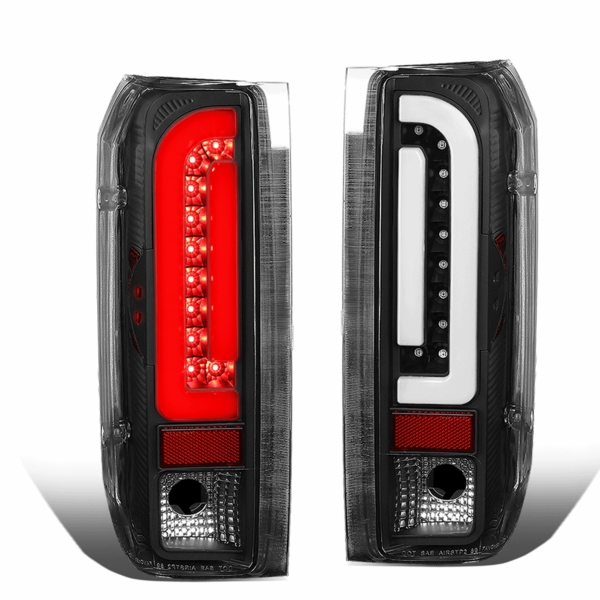 90-96 Ford F150 F250 BRONCO 3D Optic-Style LED Tail Lights - Black