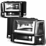 91-94 Ford Explorer LED DRL Headlight Bumper Corner Lamp Replacement - Black Clear